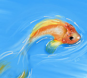 Fish Digital Art Prints - Koi Print by Vi Ha