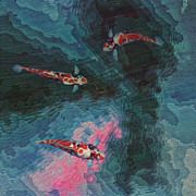 Bright Colored Prints - Koi Water Garden  Print by Jack Zulli