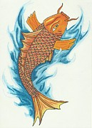 Tiffany Drawings - Koi with Waves by Tiffany Buttcher