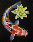Japanese Koi Prints - Koi with Yellow Water Lily Print by Michael Creese