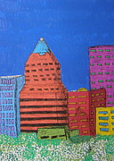 Downtown Drawings Metal Prints - KOIN downtown Metal Print by Marcia Weller-Wenbert