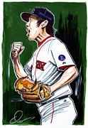 Boston Red Sox Drawings Framed Prints - Koji Uehara Boston Red Sox Framed Print by Dave Olsen