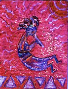 News Mixed Media Posters - Kokopelli Dance Poster by Anne-Elizabeth Whiteway