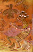 Sequins Mixed Media Prints - Kokopelli Dancing Up a Storm Print by Anne-Elizabeth Whiteway