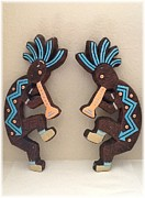Silver Turquoise Ceramics - Kokopelli Duo by Deborah Ross
