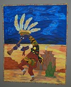 Quilts Tapestries - Textiles Metal Prints - Kokopelli Happiness Metal Print by Linda Egland