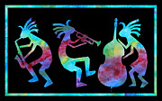 Trumpet Digital Art Prints - Kokopelli Jazz Trio Print by Jenny Armitage
