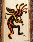 Abstract Wildlife Pyrography - Kokopelli by Laurisa Borlovan
