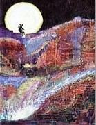 Anne-elizabeth Whiteway Prints - Kokopelli on Top of the World II Print by Anne-Elizabeth Whiteway
