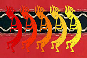 Symbol Of Fertility Digital Art Posters - Kokopelli Quintet 4 Poster by Robert J Sadler