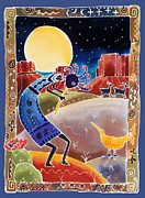 Legend  Paintings - Kokopelli Sings Up the Moon by Harriet Peck Taylor