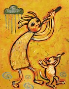Kokopelli Posters - Kokopelli with Musical Dog Poster by Carol Suzanne Niebuhr