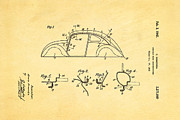 Komenda Vw Beetle Body Design Patent Art 1942 Print by Ian Monk