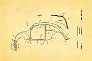 Komenda Vw Beetle Body Design Patent Art 2 1944 Print by Ian Monk