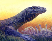 Grass Painting Originals - Komodo Dragon by Alan  Hawley