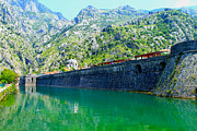 Moat Mountain Framed Prints - Kompar Ramparts of Kotor Framed Print by Saya Studios