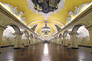 Ballroom Framed Prints - Komsomolskaya Station in Moscow Framed Print by Lars Ruecker