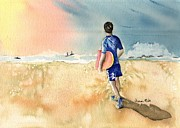 Surfing Art Painting Originals - Kona Hawaii Boy Surfing by Sharon Mick
