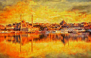 Reflections Paintings - Konstantinopolis Santa Sofia by George Rossidis