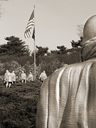 Sepia Tone Digital Art - Korean War Memorial  2 - Washington D.C. by Mike McGlothlen