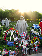War Memorial Photos - Korean War Memorial in DC by Olivier Le Queinec