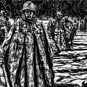 Stainless Steel Mixed Media Metal Prints - Korean War Memorial Painting Metal Print by Nadine and Bob Johnston