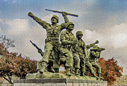 National Mixed Media Prints - Korean War Veterans Memorial South Korea Print by Nadine and Bob Johnston