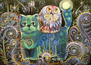 Featured Pastels Posters - Kot Bayun aka Cat the Luller  Poster by Natalia Lvova