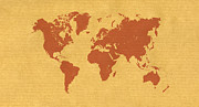 Abstract Map Digital Art - Kraft Paper World Map by Hakon Soreide