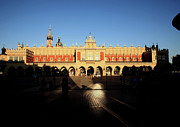 Krakow Prints - Krakow market square by night Print by Tony Brown