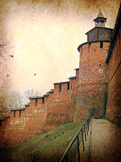 Old Towns Digital Art Prints - Kremlin wall Print by Irina Hays