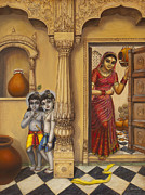 Ananda Paintings - Krishna and Ballaram butter thiefs by Vrindavan Das