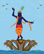 Gopala Posters - Krishna Dancing on Kaliya Poster by Pratyasha Nithin
