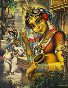 Indian Goddess Prints - Krishna is here Print by Vrindavan Das