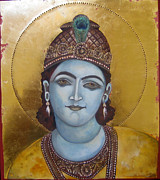 Egg Tempera Paintings - Krishna by Mary jane Miller