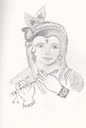 Lord Drawings - Krishna  by Melissa Vijay Bharwani