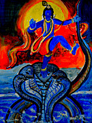 Oils Originals - Krishna on Kalindimardan by Anand Swaroop Manchiraju