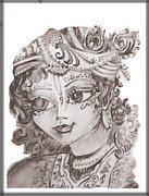 Lord Drawings Metal Prints - Krishna Metal Print by Tanmaya Chugh