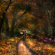 Kinkade Mixed Media Posters - KRISTI the path Poster by Vjkelly Artwork