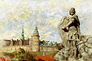 Countries Painting Framed Prints - Kronborg Castle Framed Print by Catf