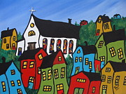 Childrens Prints Paintings - Krooked House Village by Beverly Livingstone