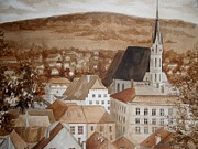 Grisaille Paintings - Krumlov by Natalya Slepneva