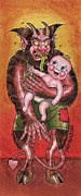 Prison Painting Prints - Krumpus and Baby New Year Print by David Shumate