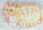 Cat Drawings Prints - Krystallos Print by Anita Dale Livaditis