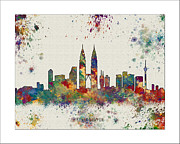 Boston Skyline Paintings - Kuala Lampur Skyline by WaterColorMaps Chris and Mary Ann