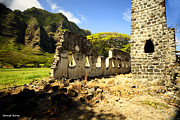 Stone Home Posters - Kualoa Sugar Mill remains Poster by Cheryl Young