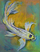 Butterfly Koi Framed Prints - Kujaku Butterfly Koi Framed Print by Michael Creese