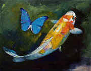 Japanese Koi Prints - Kujaku Koi and Butterfly Print by Michael Creese