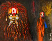 Pencil On Canvas Painting Prints - Kumbh Print by Sumit Banerjee