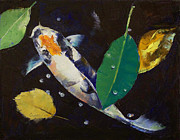 Collectible Art Paintings - Kumonryu Koi Art by Michael Creese